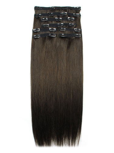 I&K Remy Clip In Hair Extensions - Full Head #2-Darkest Brown 22 inch