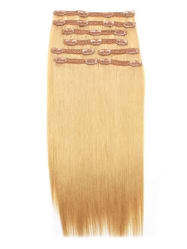 I&K Remy Clip In Hair Extensions - Full Head #22-Medium Blonde 18 inch