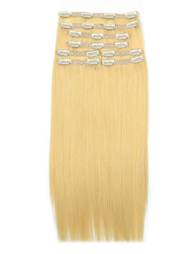 I&K Remy Clip In Hair Extensions - Full Head #24-Light Blonde 22 inch