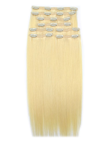I&K Remy Clip In Hair Extensions - Full Head #613-Lightest Blonde 18 inch
