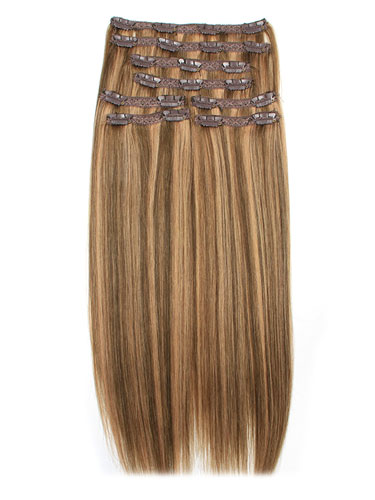 I&K Remy Clip In Hair Extensions - Full Head #4/27 18 inch