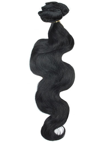 I&K Gold Clip In Body Wave Human Hair Extensions - Full Head #1-Jet Black 22 inch