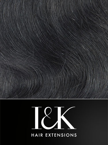 I&K Gold Clip In Body Wave Human Hair Extensions - Full Head #1B-Natural Black 18 inch