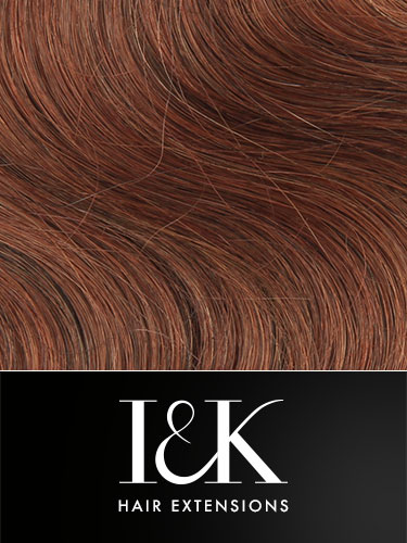 I&K Gold Clip In Body Wave Human Hair Extensions - Full Head #33-Rich Copper Red 18 inch