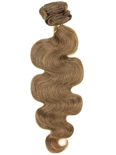 I&K Clip In Human Hair Extensions - Body Wave - Full Head #6-Medium Brown 18 inch
