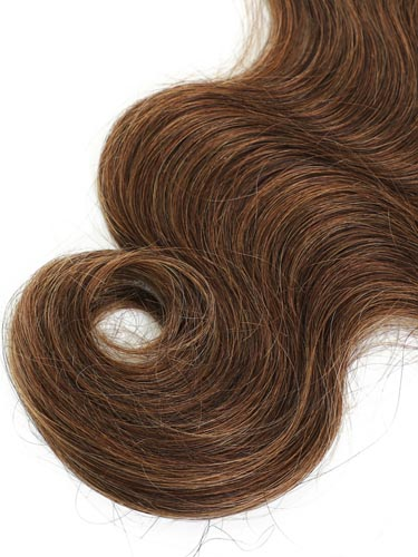 I&K Gold Clip In Body Wave Human Hair Extensions - Full Head #4-Chocolate Brown 18 inch
