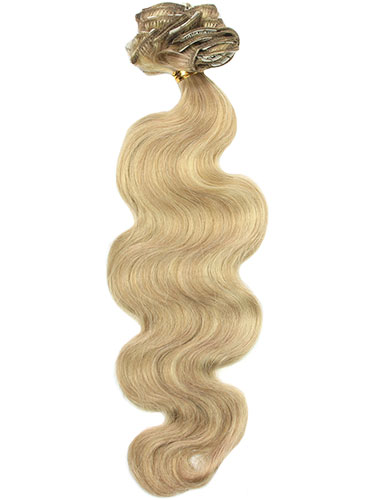 I&K Gold Clip In Body Wave Human Hair Extensions - Full Head #18/613 22 inch