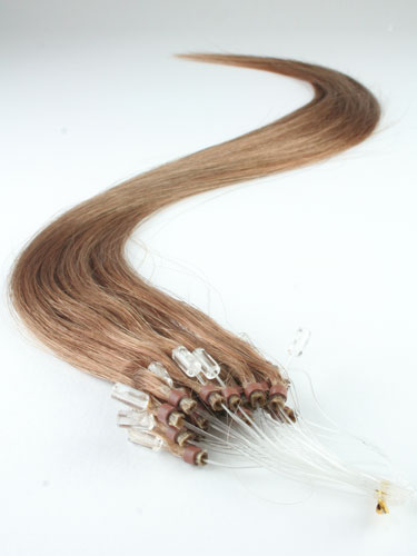 I&K Micro Loop Ring Human Hair Extensions #8-Light Brown 22 inch
