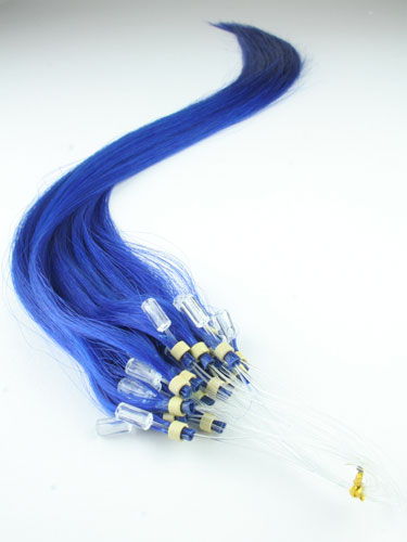 I&K Micro Loop Ring Human Hair Extensions #Blue 18 inch