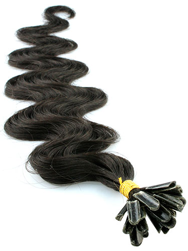 I&K Pre Bonded Nail Tip Human Hair Extensions - Body Wave #1B-Natural Black 18 inch