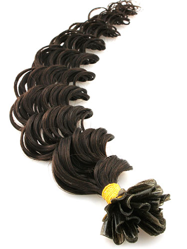 I&K Pre Bonded Nail Tip Human Hair Extensions - Deep Wave #2-Darkest Brown 18 inch
