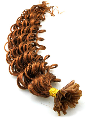 I&K Pre Bonded Nail Tip Human Hair Extensions - Deep Wave #8-Light Brown 18 inch