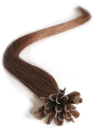 I&K Pre Bonded Nail Tip Human Hair Extensions #6-Medium Brown 18 inch