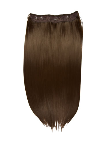 I&K Clip In Synthetic One Piece Hair Extensions #4-Chocolate Brown 24 inch