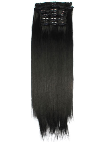Fabulous Clip In Synthetic Hair Extensions - Full Head #1B-Natural Black 18 inch