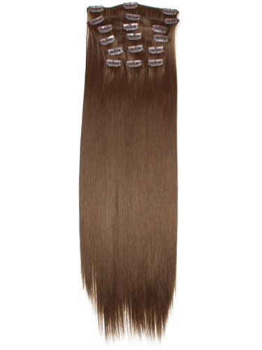 Fabulous Clip In Synthetic Hair Extensions - Full Head #6-Medium Brown 18 inch