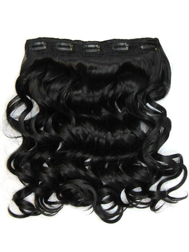 I&K Clip In Synthetic One Piece Hair Extensions - Body Wave 24 inches 180g #1-Jet Black 24 inch