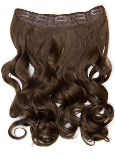 I&K Clip In Synthetic One Piece Hair Extensions - Body Wave 24 inches 180g #4-Chocolate Brown 24 inch
