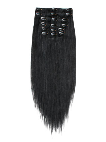 I&K Clip In Synthetic Mix Hair Extensions - Full Head #1B-Natural Black 18 inch