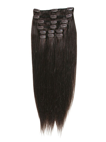 I&K Clip In Synthetic Mix Hair Extensions - Full Head #2-Darkest Brown 18 inch