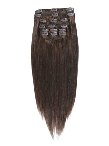 I&K Clip In Synthetic Mix Hair Extensions - Full Head #4-Chocolate Brown 18 inch