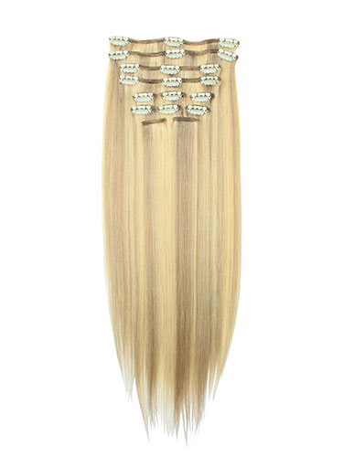 I&K Clip In Synthetic Mix Hair Extensions - Full Head #P18/613 18 inch