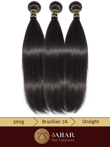 I&K 3 pcs Bundle Virgin Brazilian Hair Extensions - Straight [7A] (300g)