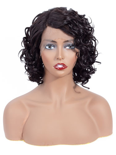 Aisha Short Curly Bob Human Hair Wig with Lace Side Parting #Natural Black