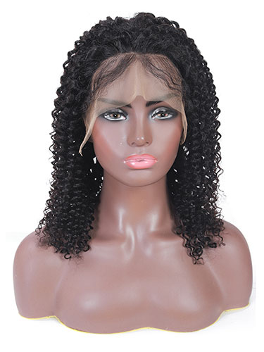 Sahar Alina Kinky Curl Human Hair Full Lace Wig #1B Natural Black