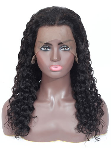 Sahar Faye Deep Wave Human Hair Full Lace Wig #1B Natural Black