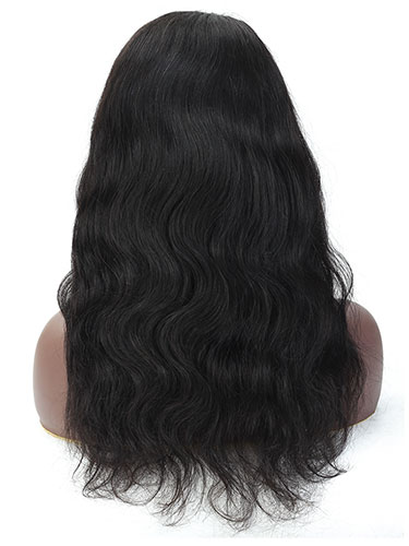 "Sahar Kayla Body Wave Human Hair Lace Closure 4X4"" Wig #1B Natural Black"