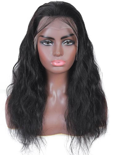 "Sahar Kayla Body Wave Human Hair Lace Front 13X4"" Wig #1B Natural Black"