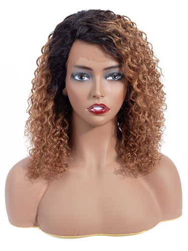 Sahar Nikki Jerry Curl Deep Wave Human Hair Wig T-Shape Lace #T1B27