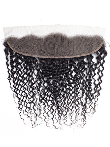 "Sahar Slay Human Hair Front Lace Closure 4"" x 13"" (6A) - Jerry Curl"
