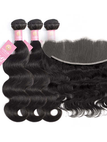 Sahar Slay Human Hair Extensions Bundle (6A) - #Natural Black Body Wave