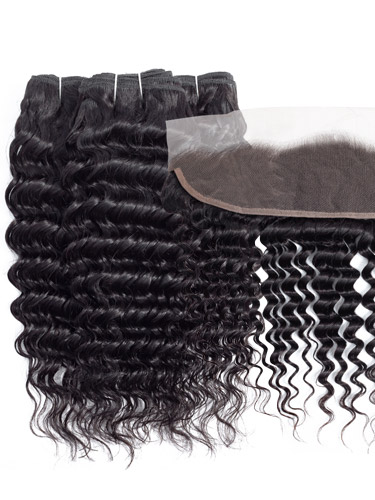 Sahar Slay Human Hair Extensions Bundle (6A) - #Natural Black Deep Wave