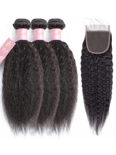 Sahar Slay Human Hair Extensions Bundle (6A) - #Natural Black Kinky Straight
