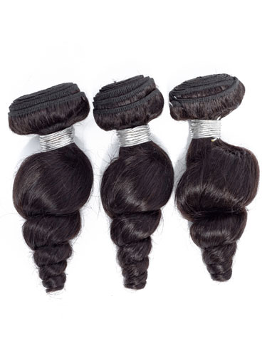 "Sahar Slay Human Hair Extensions Bundle (6A) - #Natural Black Loose Wave 14""+16""+18"" Closure 4x4"" 14"""