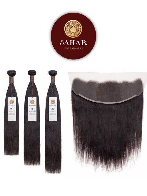 Sahar Unprocessed Brazilian Weft Hair Extensions and 4 inch X 13 inch Closure Bundle 3+1 - Straight