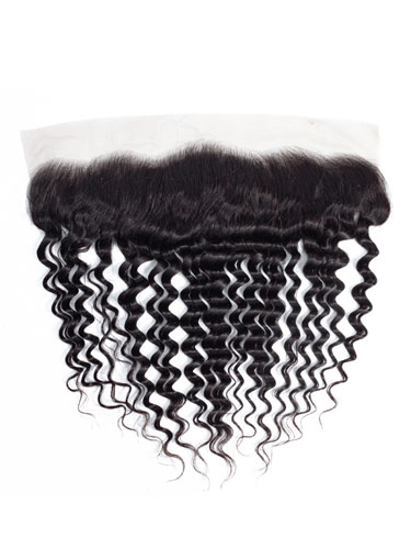 "Sahar Essential Virgin Remy Human Hair Front Lace Closure 4"" x 13"" (8A) - Deep Wave"