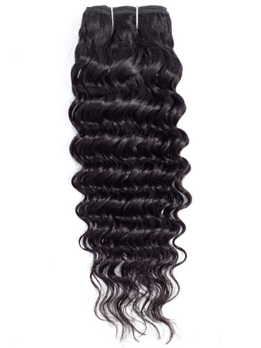 Sahar Essential Virgin Remy Human Hair Extensions 100g (8A) - Deep Wave #1B-Natural Black 14 inch