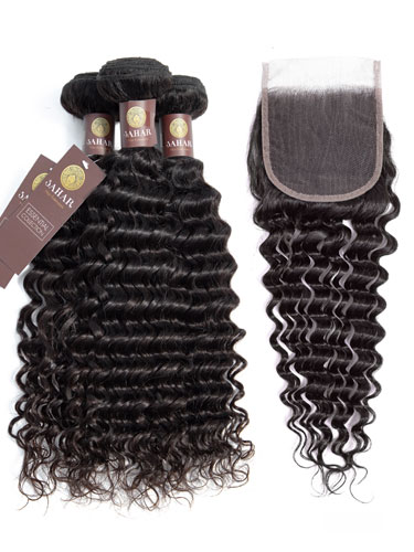"Sahar Essential Virgin Remy Human Hair Extensions Bundle (8A) - #Natural Black Deep Wave 12""+14""+16"" Closure 4x4"" 16"""