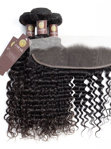 "Sahar Essential Virgin Remy Human Hair Extensions Bundle (8A) - #Natural Black Deep Wave 16""+18""+20"" Frontal 4X13"" 18"""