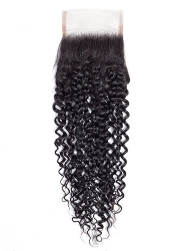 "Sahar Essential Virgin Remy Human Hair  Top Lace Closure 4"" x 4"" (8A) - Jerry Curl"