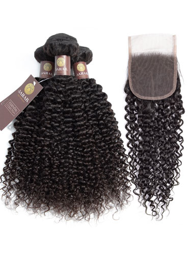Sahar Essential Virgin Remy Human Hair Extensions Bundle (8A) - #Natural Black Jerry Curl