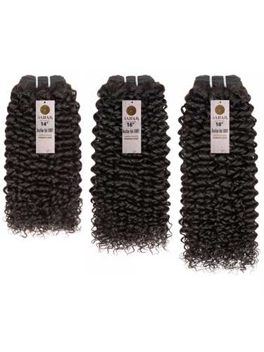 "Sahar Essential Virgin Remy Human Hair Extensions Bundle (8A) - #Natural Black Kinky 10""+12""+14"" Frontal 4X13"" 18"""