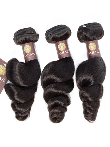 Sahar Essential Virgin Remy Human Hair Extensions Bundle (8A) - #Natural Black Loose Wave