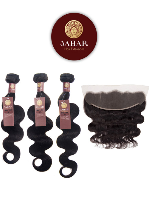 Sahar Essential Unprocessed Brazilian Weft Hair Extensions and 4 inch X 13 inch Closure Bundle 3+1 - Body Wave