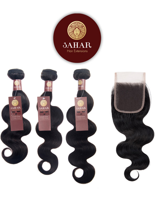 "Sahar Essential Virgin Remy Human Hair Extensions Bundle (8A) - #Natural Black Body Wave 12""+12""+12"" Frontal 4X13"" 16"""