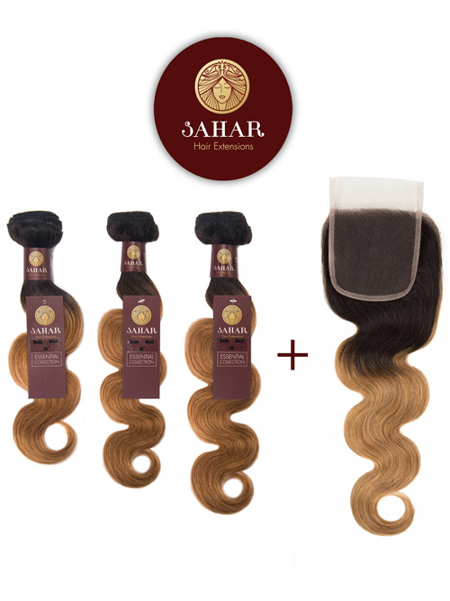 "Sahar Essential Virgin Remy Human Hair Extensions Bundle (8A) - #OT27 Body Wave 12""+14""+16"" Closure 4x4"" 16"""